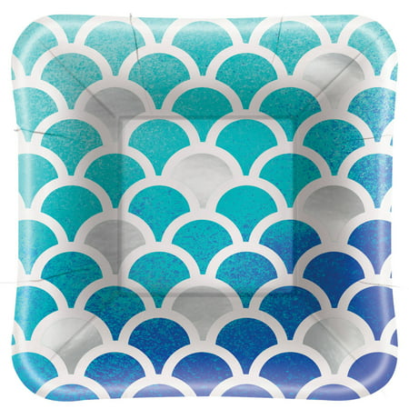 Foil Ocean Blue Scallop Print Square Appetizer Plates, - Easy Appetizers For Halloween Party