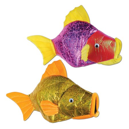Pack of 6  Luau Themed Metallic Muti-Colored Plush Fish Costume Party Hats
