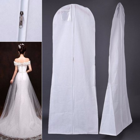 72'' Non-woven Closet Wedding Dress Storage Prom Ball Gown Clothes Bridal Gown Garment Zip Bag Dust Cover White  Dustproof Breathable Ball Gown Bag