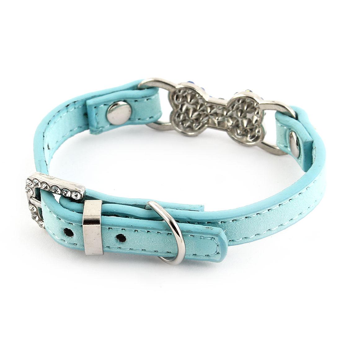 Bone Shape Decor Faux Rhinestones Inlaid Adjustable Pet Dog Cat Collar Blue XXS - image 4 of 5