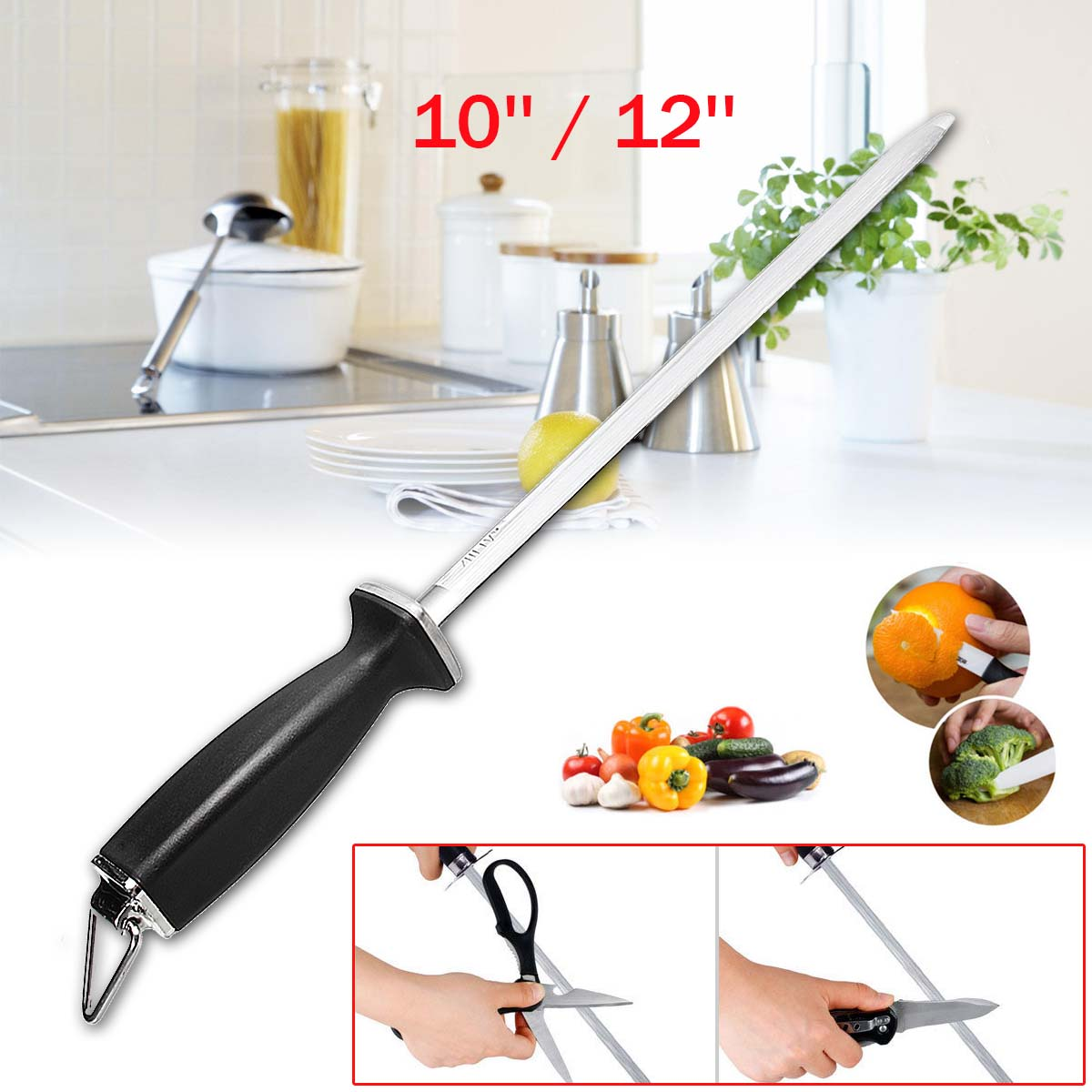 10/12 Inch Knife Diamond Sharpening Steel Rod Stick Sharpener honing steel Oval Stone,Chef Sharpener,Household Appliance,Kitchen Accessories