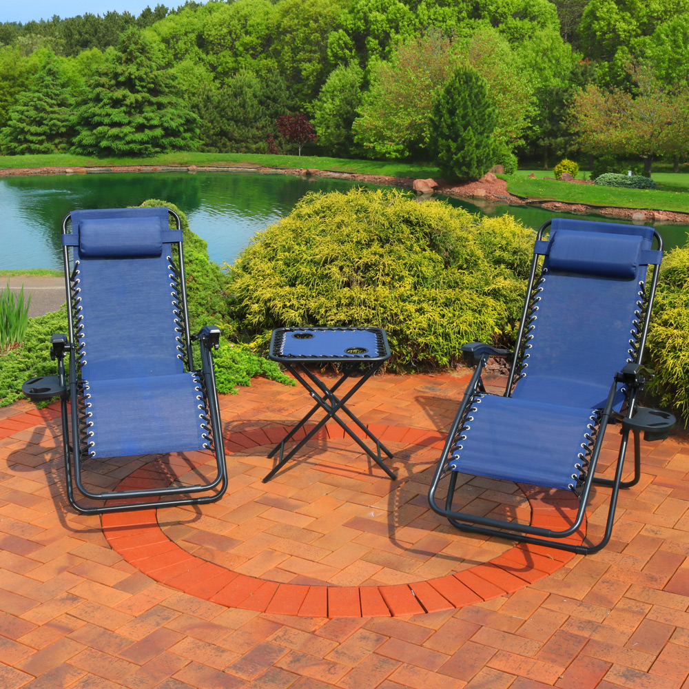Sunnydaze Outdoor Zero Gravity Reclining Lounge Chairs Set of 2, with Pillows, Cup Holders and Matching Table with Built-In Cup Holders, Navy Blue