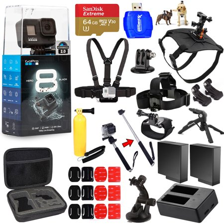 GoPro HERO8 HERO 8 Black All In 1 MEGA ACCESSORY BUNDLE for ALL Occasions with 2 Extra Battery and Charger, Sandisk 64GB, Head and Chest Strap, Dog Harness, Tripods, Selfie Stick and Much More
