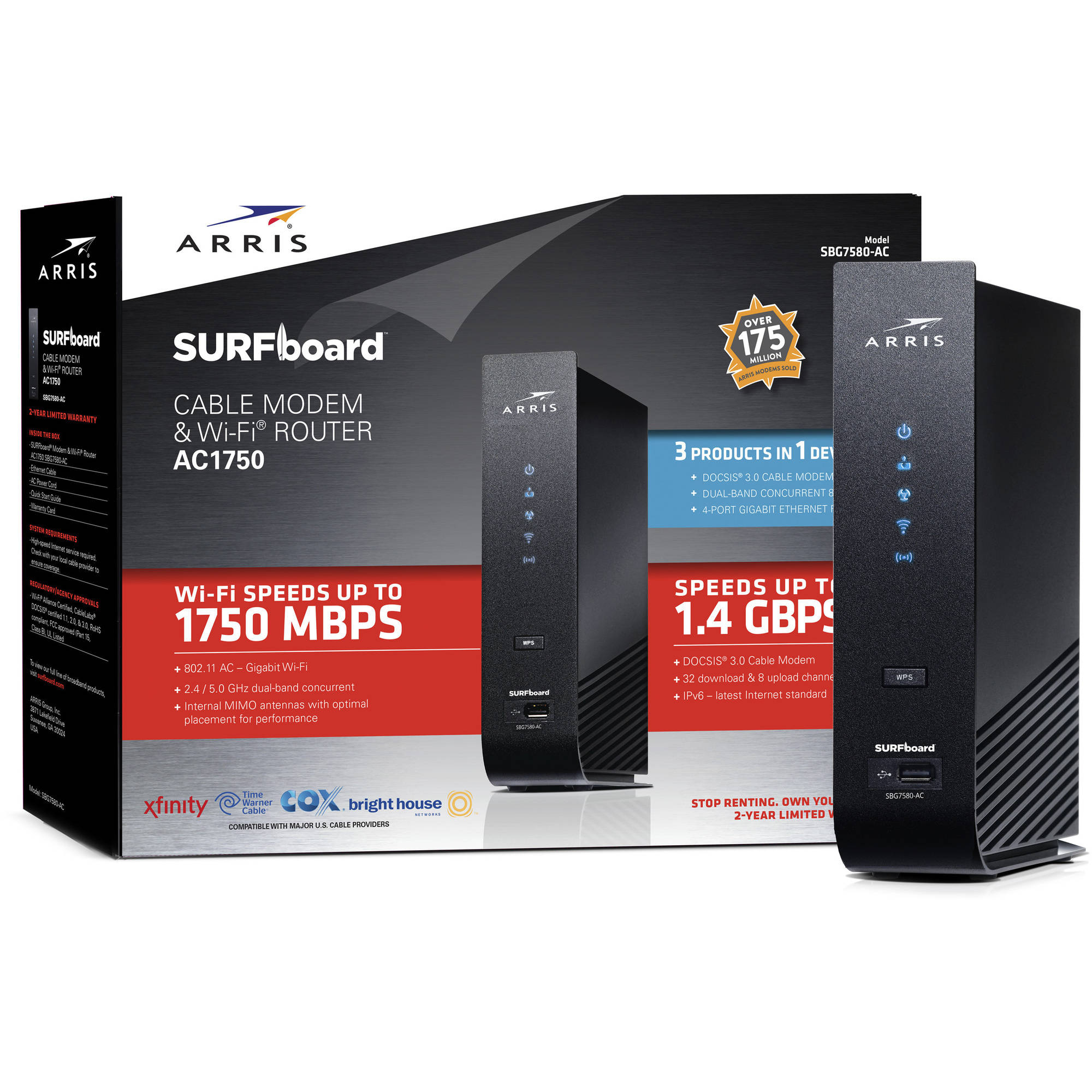 ARRIS SURFboard SBG7580-AC DOCSIS 3.0 Cable Modem/WiFi AC 1750 Router