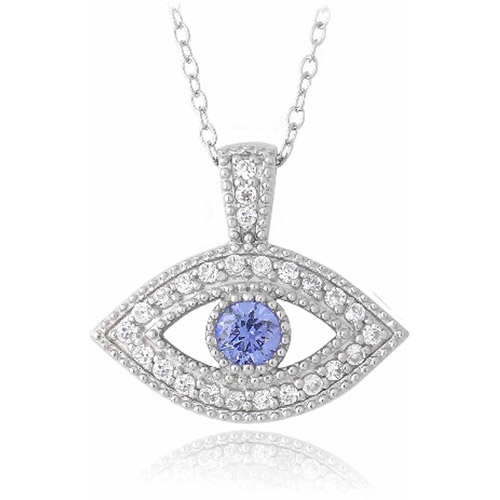 Tanzanite and Clear CZ Sterling Silver Evil Eye Necklace