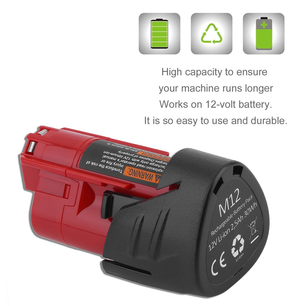Replacement 12V 12 Volt 2500mAh Red Battery for For Milwaukee 48-11-2401 M12 Power Tools