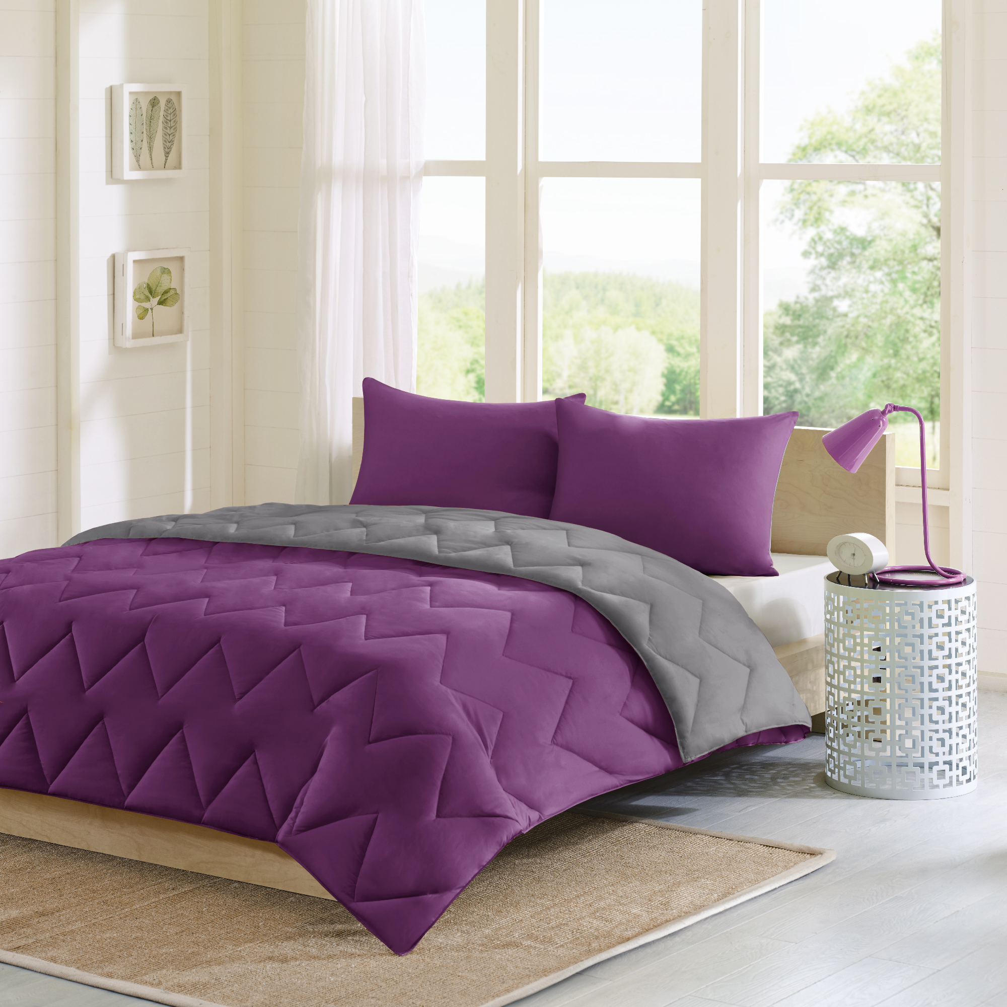 Home Essence Apartment Penny Reversible Luxurious Soft Brushed Down Alternative Comforter Mini Set