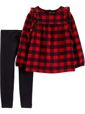 Child of Mine by Carter's Toddler Girl Long Sleeve Plaid Top & Leggings, 2 pc Outfit set