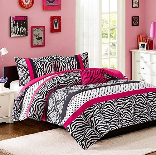 Comforter Bed Set Teen Kids Girls Pink Black White Animal Print Polka Dots Bedding Set (Twin/twin Xl)