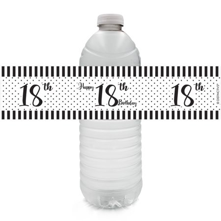 18th Birthday Water Bottle Labels, 24ct - Black and White Stripe and Polka Dot Birthday Party Supplies - 24 Count Stickers](Birthday Black And White)