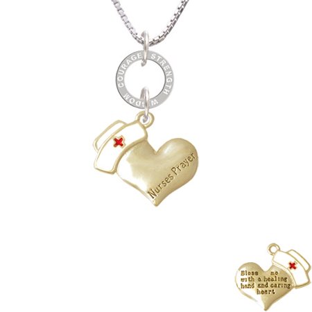 Gold Tone Nurse's Prayer Heart - Healing Hand - Courage Strength Wisdom Eternity Ring Necklace