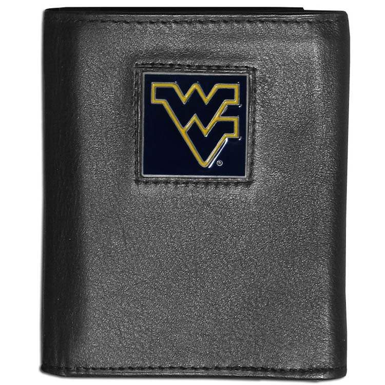 West Virginia Mountaineers Deluxe Leather Tri-fold Wallet Packaged in Gift Box (