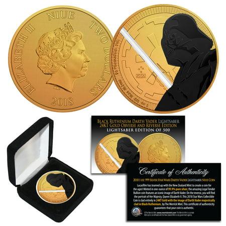 Star Wars 30th Anniversary Coin - STAR WARS '18 NIUE 1 OZ Silver Coin 24K Gold Clad BLACK RUTHENIUM DARTH VADER LS