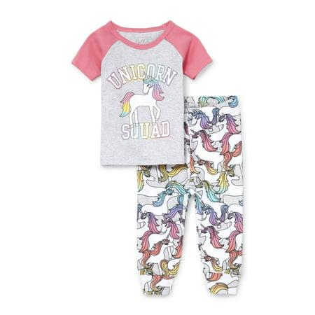 Print Sleep Tee (Baby And Toddler Girls Short Raglan Sleeve 'Unicorn Squad' Top And Printed Pants Snug-Fit PJ Set (Baby and Toddler)
