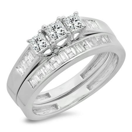 Dazzlingrock Collection 0.90 Carat (ctw) 14K Princess & Baguette Cut Diamond 3 Stone Engagement Ring Set, White Gold, Size (6 Diamond Baguette Stone Ring)