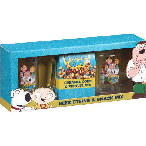 Family Guy Beer Steins & Snack Mix Gift Set, 3 pc
