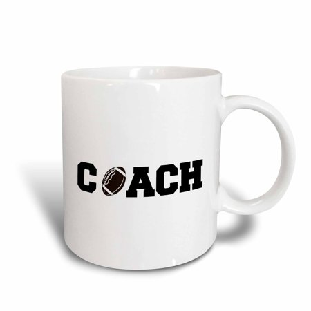 3dRose coach, black letters with football on white background, Ceramic Mug, 11-ounce