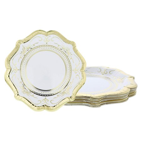 Disposable Plates - 24-Count Paper Plates, Vintage White Party Supplies for Appetizer, Lunch, Dinner, and Dessert, Bridal Showers, Weddings, Gold Foil Scalloped Edge Design, 9.2 x 9.2 inches ()