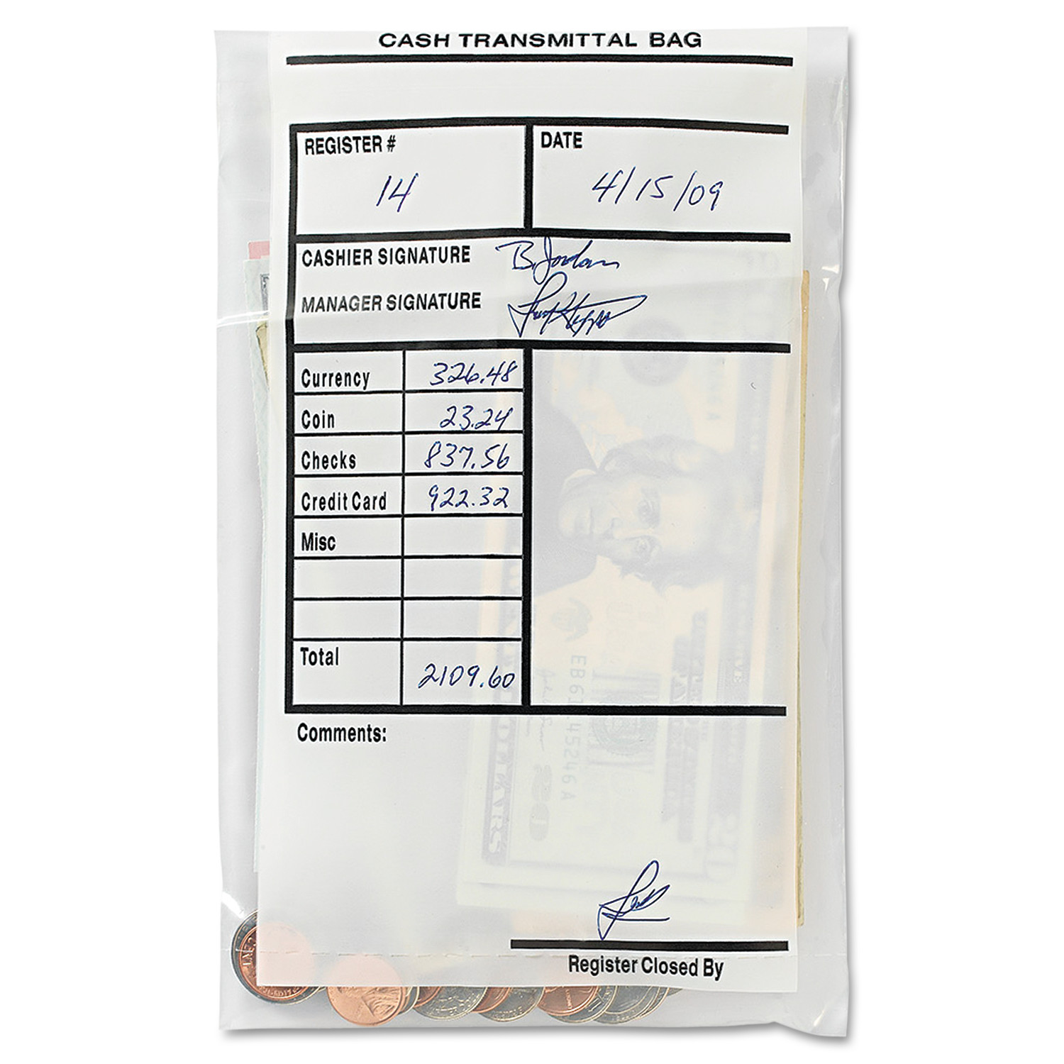 MMF Industries Cash Transmittal Bags, Self-Sealing, 6 x 9, Clear, 500 Bags/Box -MMF236006920