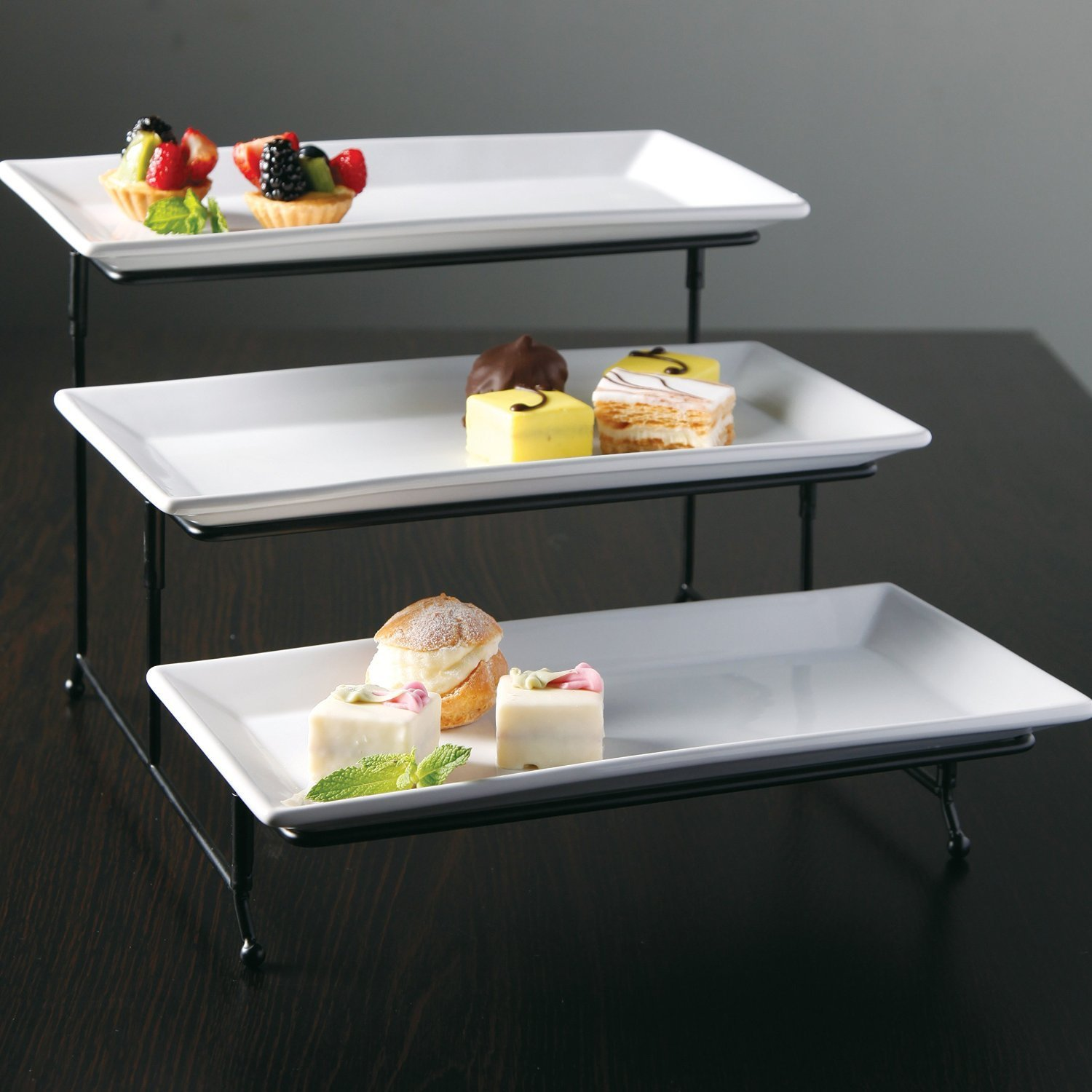 Gibson Elite Gracious Dining 3 Tier Plate Set with Metal Stand & Tiered Serving Ware
