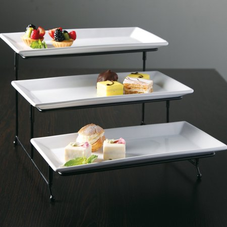 Gibson Elite Gracious Dining 3 Tier Plate Set with Metal Stand - Halloween Entertaining Serveware