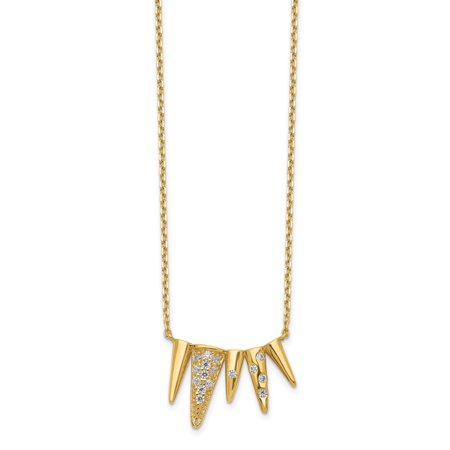 14K Yellow Gold Decorated Triangles Cubic Zirconia with 2In Extender Necklace