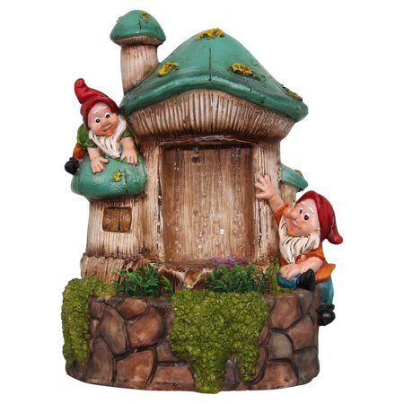 - SINTECHNO Two Cute Gnomes Tabletop Mushroom Cottage Water Fountain