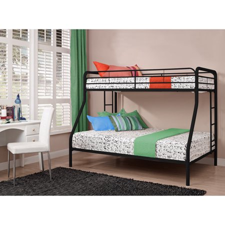 Dorel Twin-Over-Full Metal Bunk Bed, Multiple Colors with 2 Mainstays Mattresses