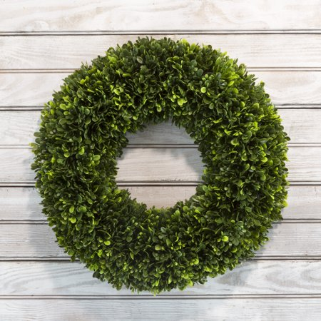 Artificial Tea Leaf Wreath with Grapevine Base- UV Resistant Greenery Half Wreath with Slim Profile for Front Door, Wall Decor by Pure Garden 17.5""