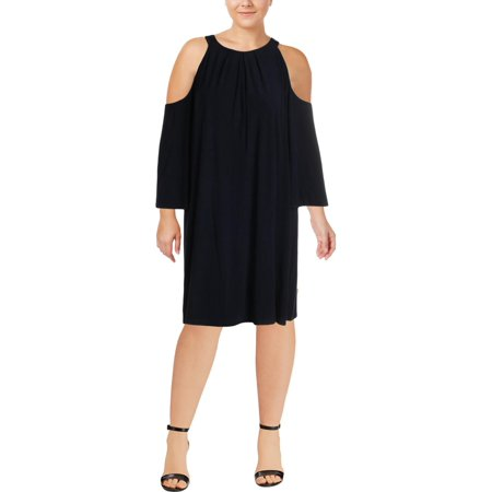 Ralph Lauren Womens Navy Cold Shoulder 3/4 Sleeve Jewel Neck Knee Length A-Line Dress Plus  Size: -