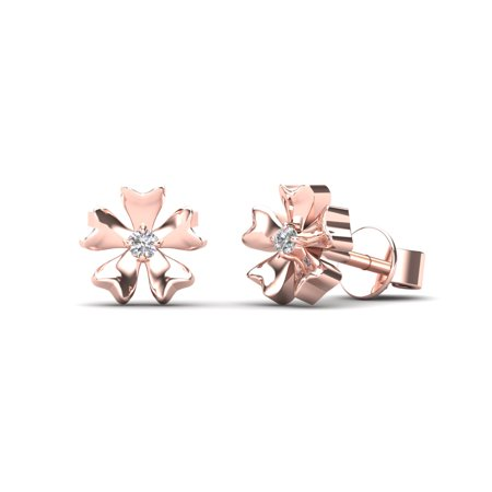 aaXia 10K Rose Gold Diamond Accent Floral Stud