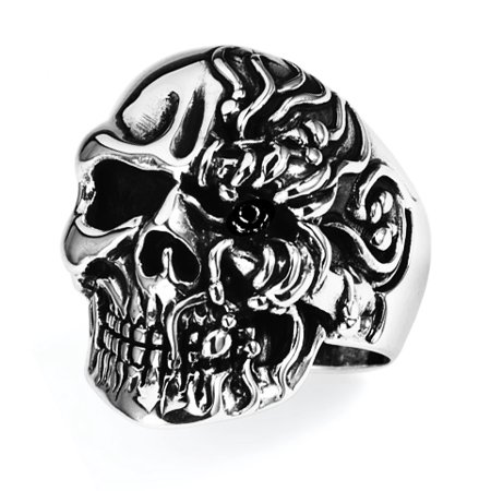 Stainless Steel Skull Ring (Available in Sizes 10 to 14) size 10 - Plastic Skull Rings