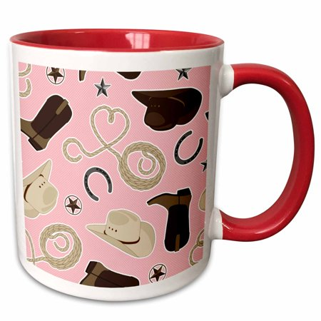 3dRose Cute Cowboy Theme Pattern Pink and Brown - Two Tone Red Mug, (Cowboy Wedding Themes)