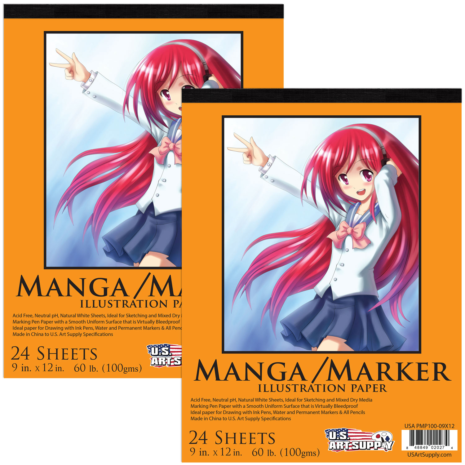 "2 Pack of U.S. Art Supply 9"" x 12"" Premium Manga-Marker Paper Pad 60lbs (100gsm) 24-Sheets"