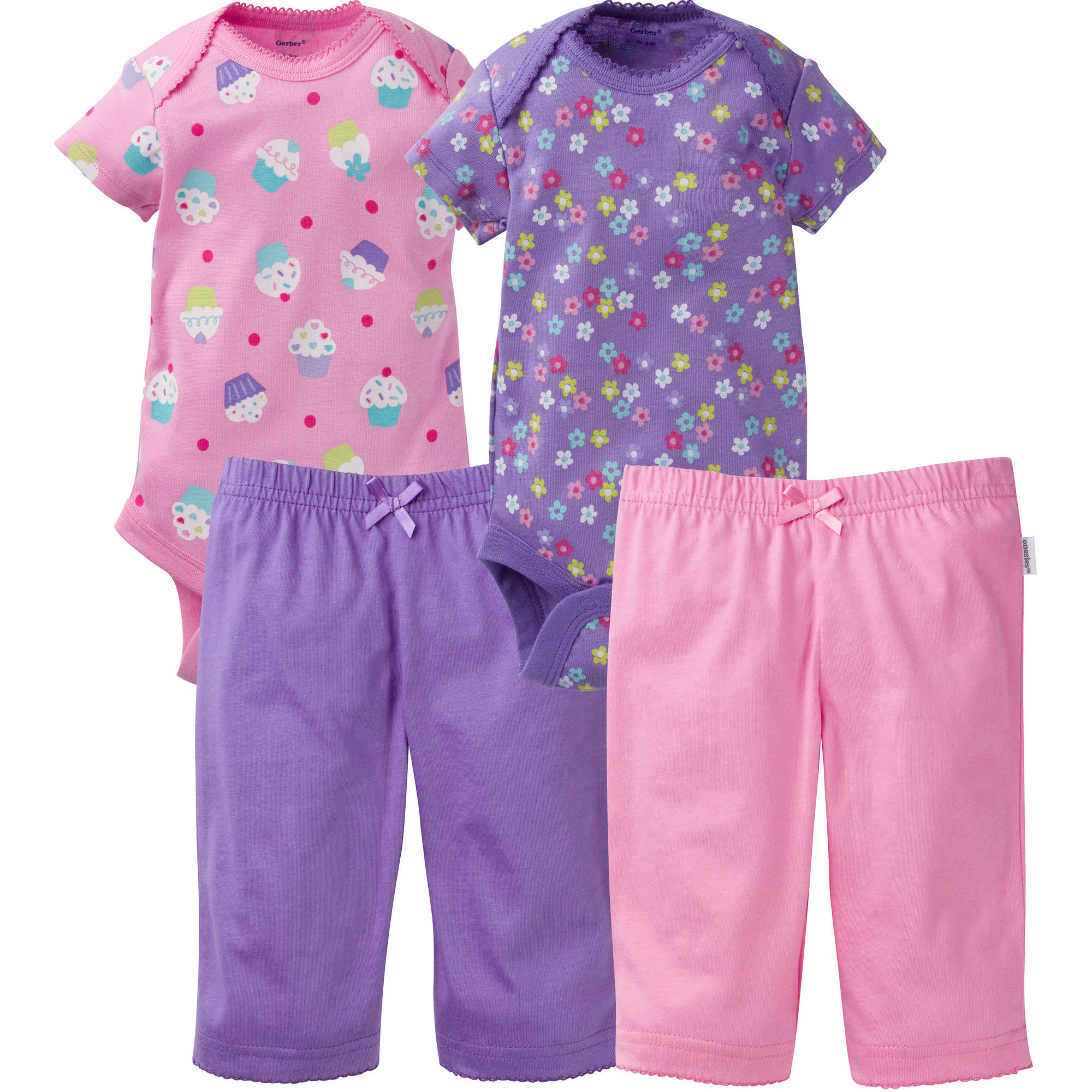 Newborn Baby Girl Layette Outfit Set, 4-Piece