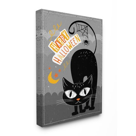 Happy Halloween Clip Art (The Stupell Home Decor Collection Black Orange and Grey Happy Halloween Black Cat with Spider Web Tail ad Moon Stretched Canvas Wall Art, 16 x 1.5 x)