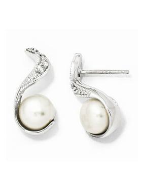 Sterling Silver CZ FW Cultured Pearl Swirl Post Earrings