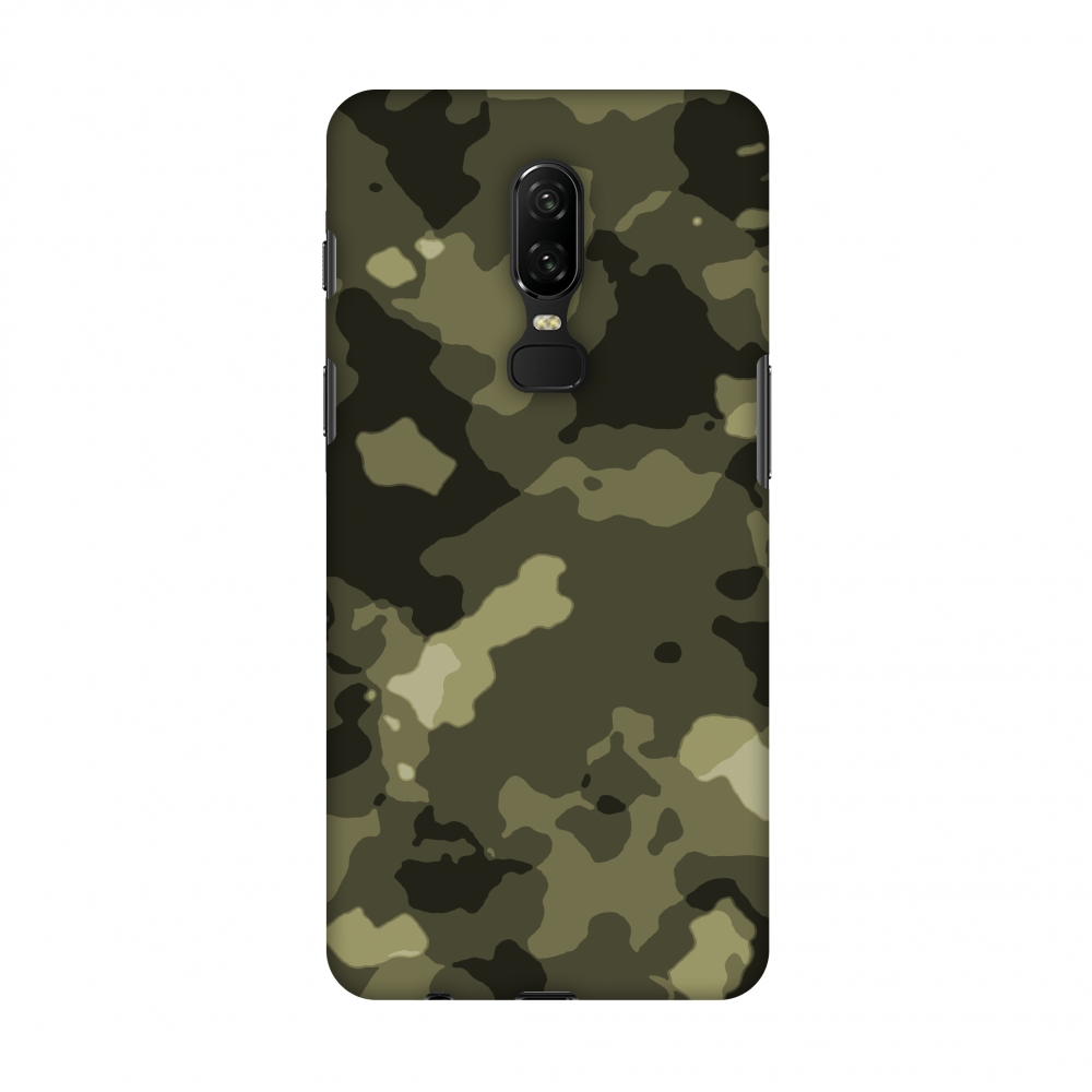 OnePlus 6 Case - Camou- Antique bronze, Hard Plastic Back Cover, Slim Profile Cute Printed Designer Snap on Case with Screen Cleaning Kit