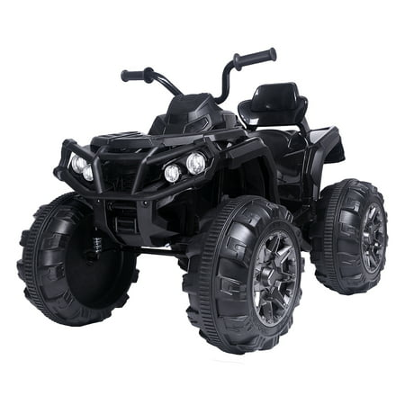 Battery Powered Ride ON Toys, Kids 12v Ride ON Toys Jeep, 4-Wheeler ATV Ride ON Car w/ 3.7mph Max, 2 Speed, LED Lights, AUX Jack, Radio, Electric Motorcycle for Boys/Girls, 3-8 Years Old, Black,