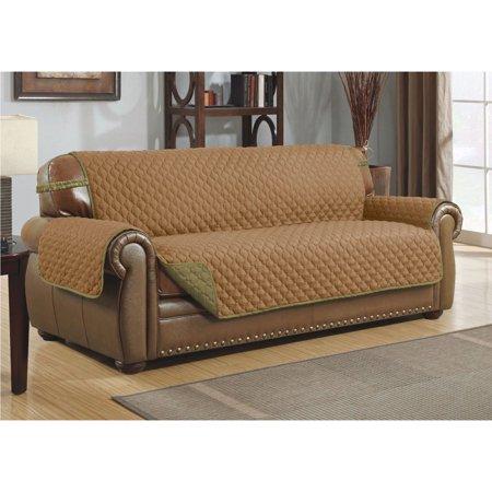 Linen Quilted Reversible Microfiber Furniture Pet Protector Sofa Sage Tan