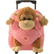Kreative Kids 8095P Monkey Plush Rolling Backpack with Pink