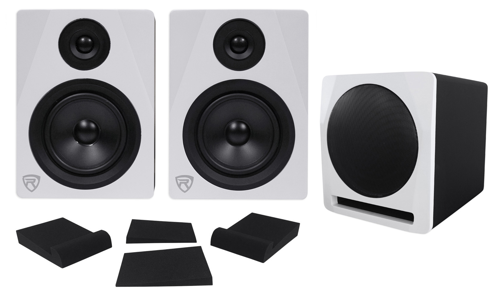 "(2) Rockville APM5W 5.25"" Powered Studio Monitors+Active 10"" Subwoofer+Foam Pads by ROCKVILLE"