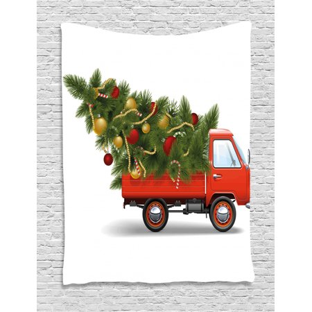 Christmas Tapestry Red Retro Style Farm Truck And Big Christmas Tree With Tinsel Balls Candy Wall Hanging For Bedroom Living Room Dorm Decor White