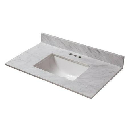 Cahaba Marble Single Bathroom Vanity Top With Trough Bowl - 31 bathroom vanity with top
