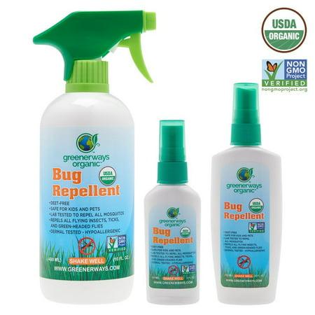 Greenerways Organic, Insect Repellent, Bug Spray, Premium, USDA Organic,  Non-GMO, Mosquito-Repellent, Clothing Safe, Kid Safe, Pet Safe, Baby