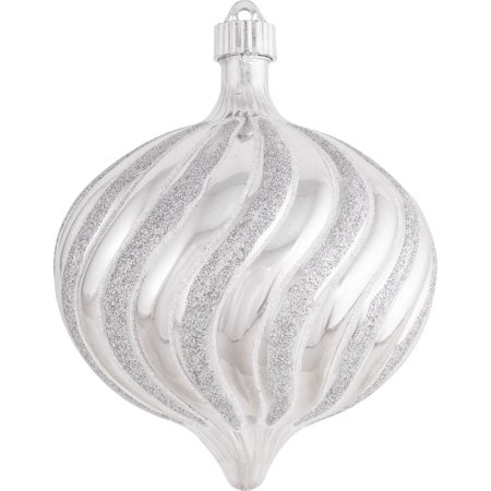 Christmas by Krebs Large Christmas Ornaments Swirled Onion Silver 6