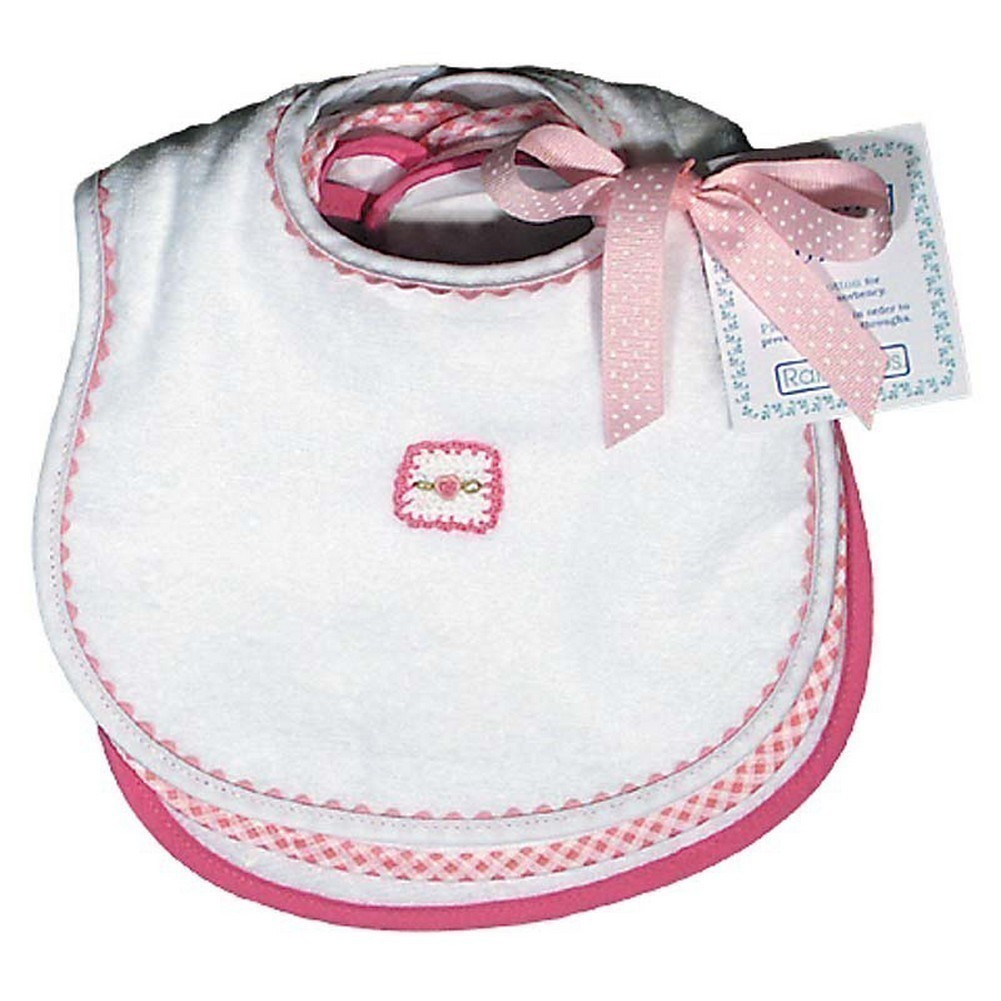 Raindrops Baby Girls Pastel Teething Bib Set, White Pink by Raindrops