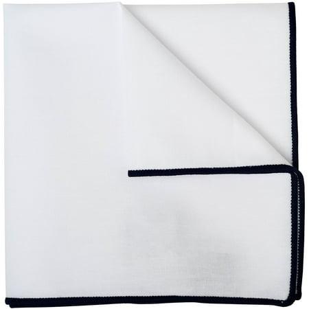 Mens White Pocket Square 100% Cotton 10 x 10 Navy Blue Border by Puentes Denver - Navy Blue Mens Square