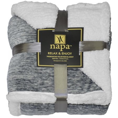 Napa Super Soft Micro Fleece Reversible Sherpa Plush Bed Throw TV Blanket 50