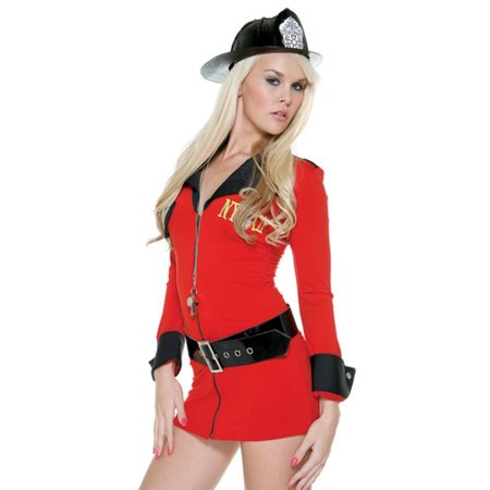 Sexy Womens Adult Red Fire Girl Firefighter Lady Outfit Costume Red Dress Black Hat Belt - Fire Fighter Outfit